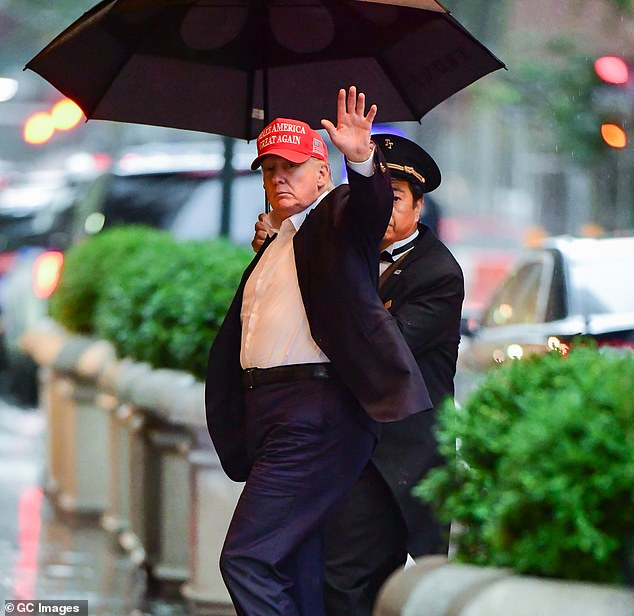 Jordan is one of several Republican lawmakers who reportedly spoke with Trump on January 6 (pictured: the ex-president arriving at Trump Tower on August 22)