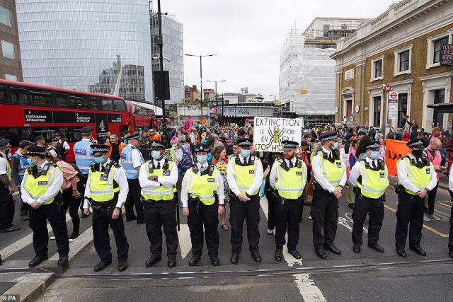 The Met Police have been struggling to stop mobs of the protesters bringing chaos to central London during two weeks of action
