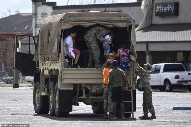 A Louisiana National Guard truck rescued people out of LaPlace, Louisiana