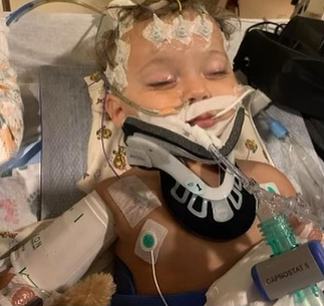 Heart-wrenching:The 63-year-old actress shared a photo of the baby boy lying in a hospital bed in a tangle of wires and tubes last week while sharing a few details about his condition