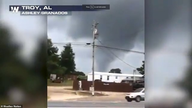 Video posted to social media shows a tornado in Troy, Alabama on Monday
