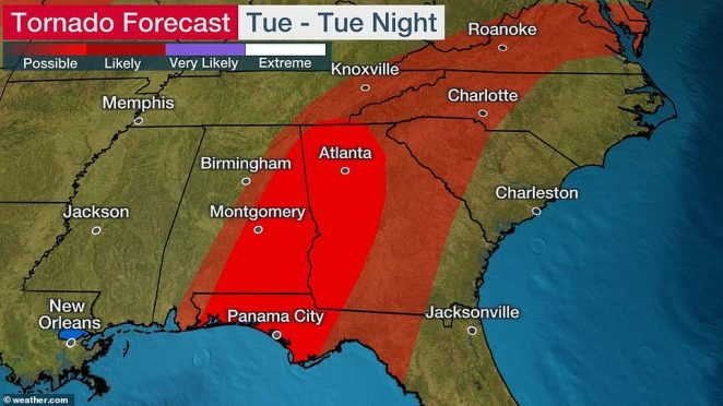 Tornadoes are possible throughout the Southeast United States, including the Florida Panhandle, Alabama, Georgia, the Carolinas, eastern Tennessee, and Virginia