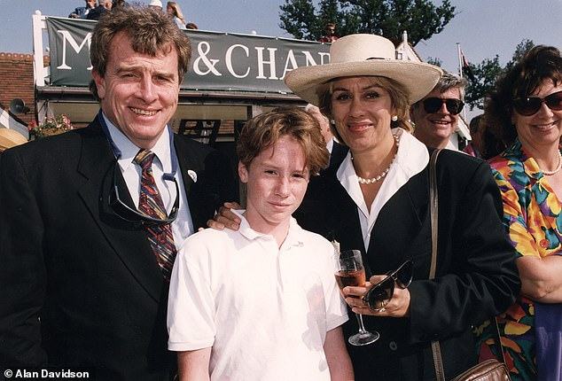 Sweet: Dame Kiri pictured with her husband Desmond Park and son Tom in 1997