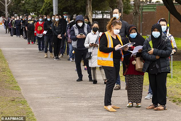 Premier Andrews said policymaking must remain open to changes (pictured, Melburnians queue for Covid vaccination on Tuesday)