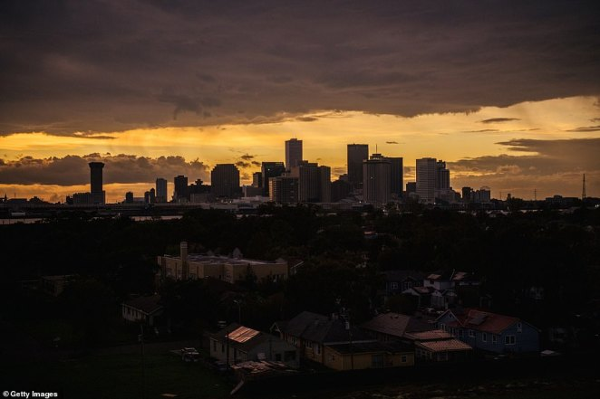 The downtown skyline is shown after Hurricane Ida passed through on August 30, 2021 in New Orleans, Louisiana