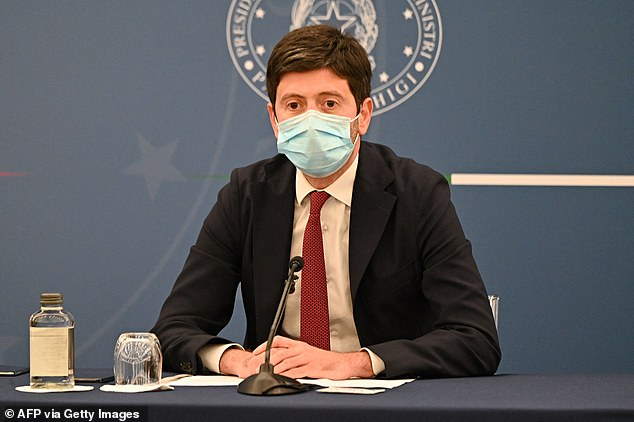 Italy's health minister Roberto Speranza (pictured in Rome on August 5) tweeted on Saturday that he had signed a decree ending 'the mini-quarantine of five days' for visitors from the UK