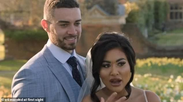 Nikita appeared on the first episode of the hit dating show last night as she walked down the aisle to meet her new husband Ant, 28, from Manchester (pictured together)