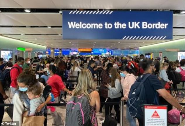 Parents complained on Sunday about being corralled to the limited number of counters operated by Border Force staff because facial recognition on e-gates does not work with babies and toddlers