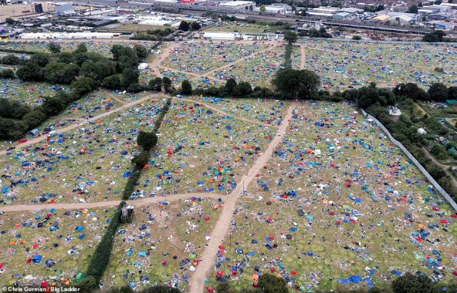 Tents and all manner of camping equipment are left after the Reading Festival today. The event finished last night on the 30th August 2021