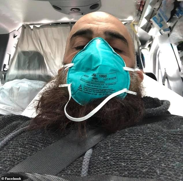 Before he was hospitalised, Mr Shaar also told his scores of followers that vaccination jabs were ineffective (pictured being taken to hospital this week)