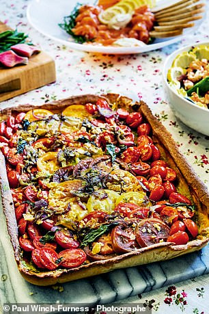 Heritage tomato tart (pictured) should be left to cool before cutting into slices