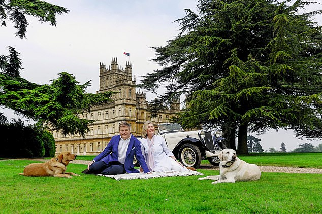 In an extract from her new book about life at Highclere Castle, Lady Carnarvon shares a selection of her favourite recipes. Pictured:Lord and Lady Carnarvon on the lawn at Highclere