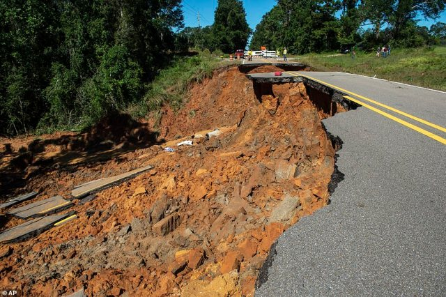 Part of Highway 26 washed away late Monday night, due to heavy rains from Hurricane Ida