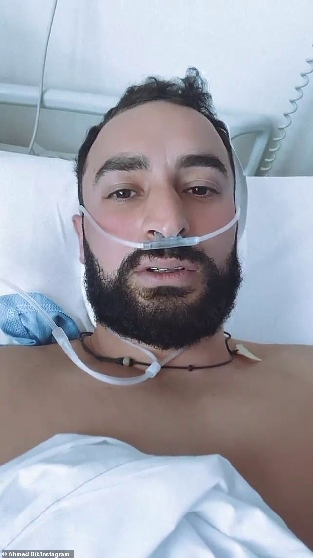 Mr Dib posted to his Instagram from his hospital bed in Sydney's Concord Hospital where is currently on oxygen and steroids as he recovers from Covid-19 (pictured)