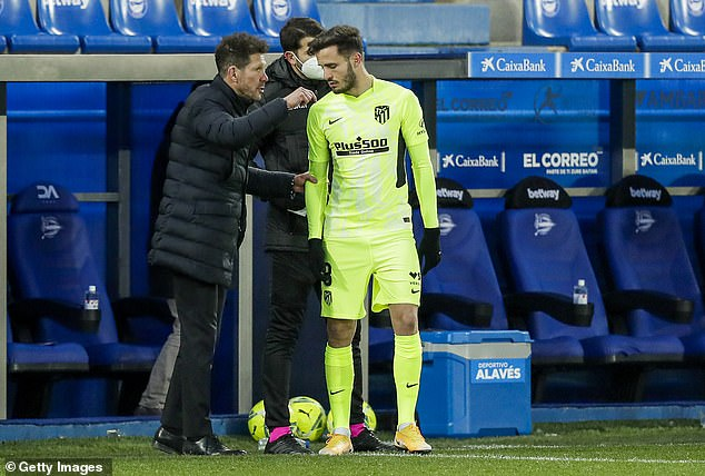 Saulrevealed a clash with Atletico boss Diego Simeone (left) forced him out of the club
