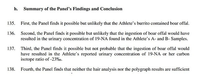 CAS confirmed today that she had lost her appeal against her ban (see summary above)