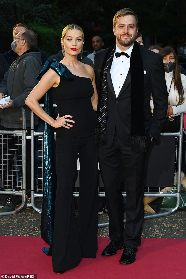 Date night: New parents Laura Whitmore, 36, and husband Iain Stirling, 33, enjoyed an evening at the GQ Men Of The Year Awards, with Laura looking chic in a black jumpsuit