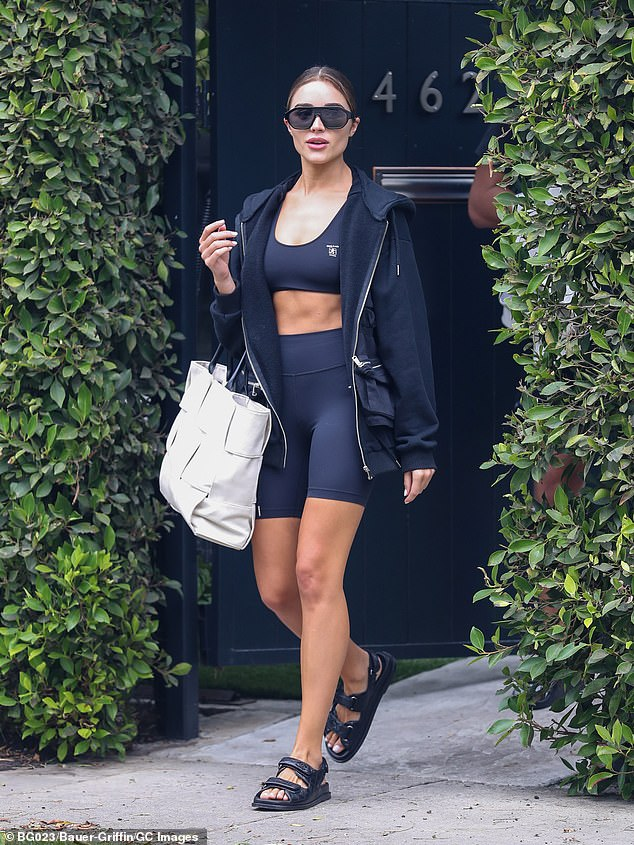 Taut tummy! SI Swimsuit stunner Olivia Culpo flaunted her abs while leaving a private class at Forma Pilates in West Hollywood on Wednesday
