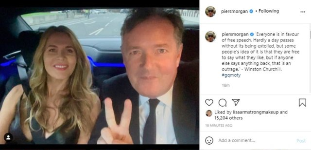 Mr Morgan, pictured alongside his wife Celia last night, quoted former Prime Minister Winston Churchill in his latest Instagram post