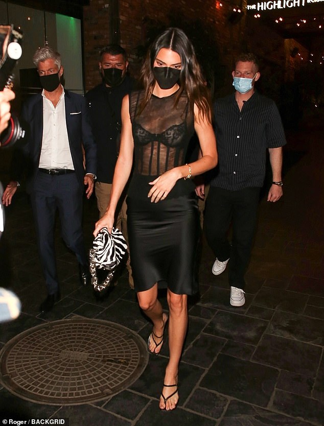 Kendall Jenner oozes sex appeal in a mesh LBD as she exits Beauty & Essex  in Hollywood   Daily Mail Online