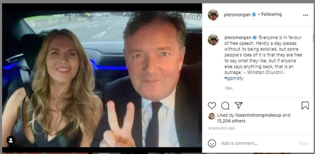 Mr Morgan, pictured alongside his wife Celia, quoted former Prime Minister Winston Churchill in his latest Instagram post