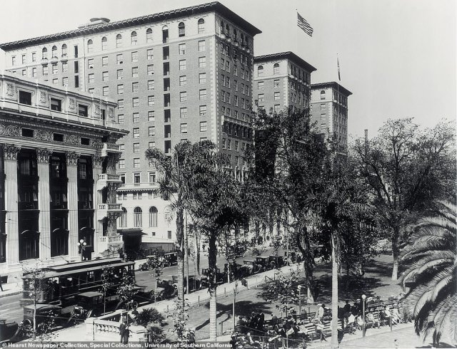 BILTMORE HOTEL: The legacy of the Biltmore Hotel, pictured on the left in 1928, is intertwined with Hollywood glitz and glamour. It was an early home for the Academy Awards ceremony, for two years, and Rosemary reveals that 'foreign royalty and numerous US presidents have slept here... and The Beatles were once helicoptered on to the hotel roof and hid here for days'. Its ties with the Oscars run deep. Rosemary says: 'The Academy of Motion Picture Arts and Sciences was founded at a lunch in the Crystal Ballroom in May 1927. Legend has it that MGM director Cedric Gibbons sketched the design for the Oscar statue on a linen Biltmore napkin.'  However, the dawn of World War II brought the short run of Biltmore hosting the Academy Awards ceremony to an end