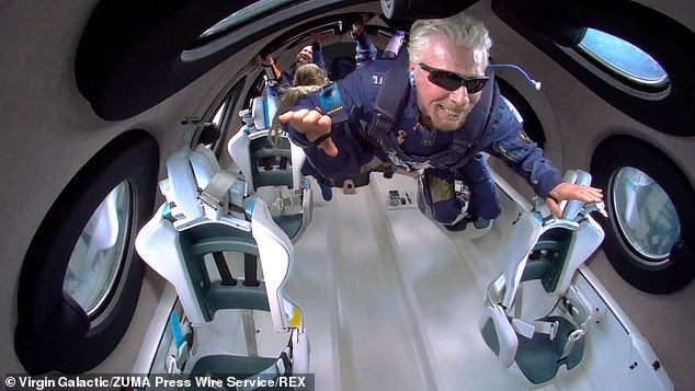 Sir Richard Branson's company said a third-party supplier had flagged a potential defect in a component of the flight-control system it provided. Pictured, Branson during his space flight