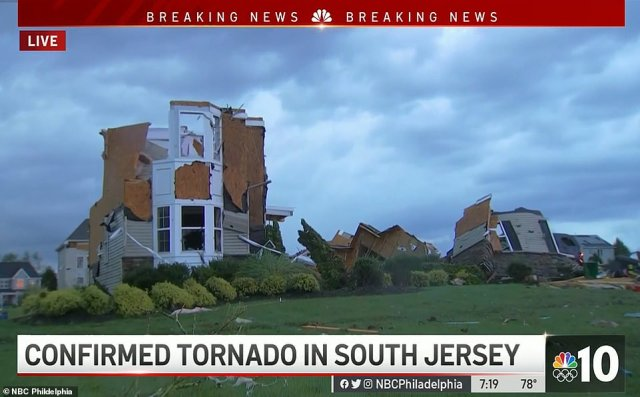 Tornados were reported in New Jersey, leaving properties destroyed