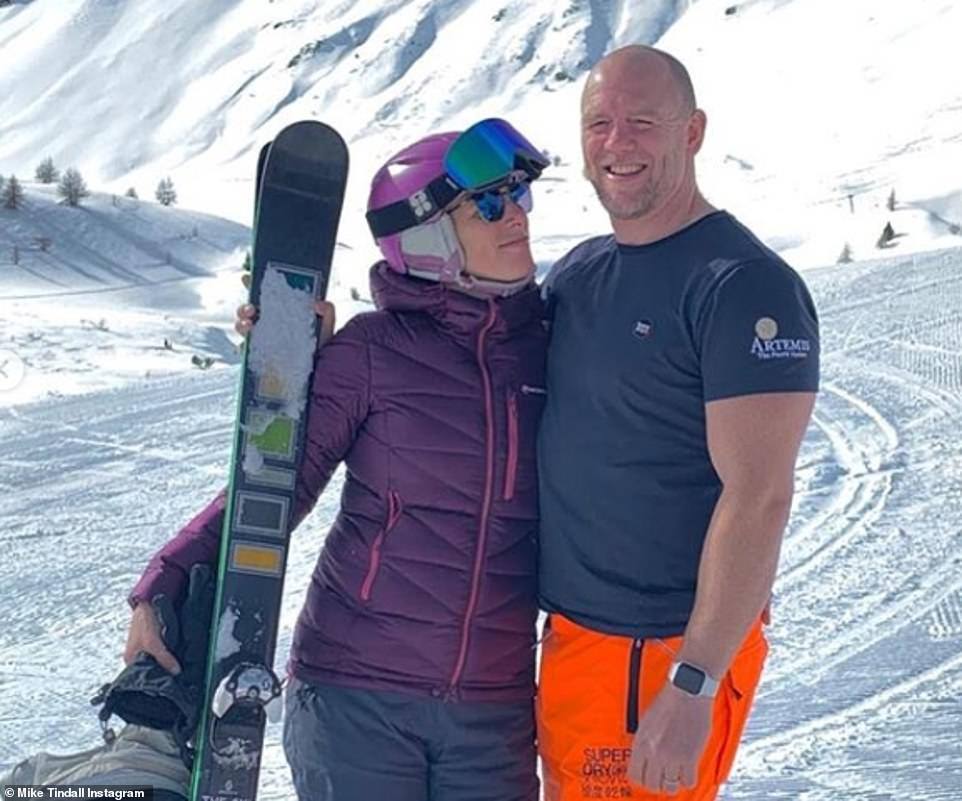Villars is also a favourite of former England rugby star Mike Tindall, the husband of the Queen's granddaughter Zara Tindall. He once told the Telegraph: 'Villars is very quiet so you get the slopes to yourself and there are no lift queues.' Pictured: Mike Tindall pictured skiing in Italy