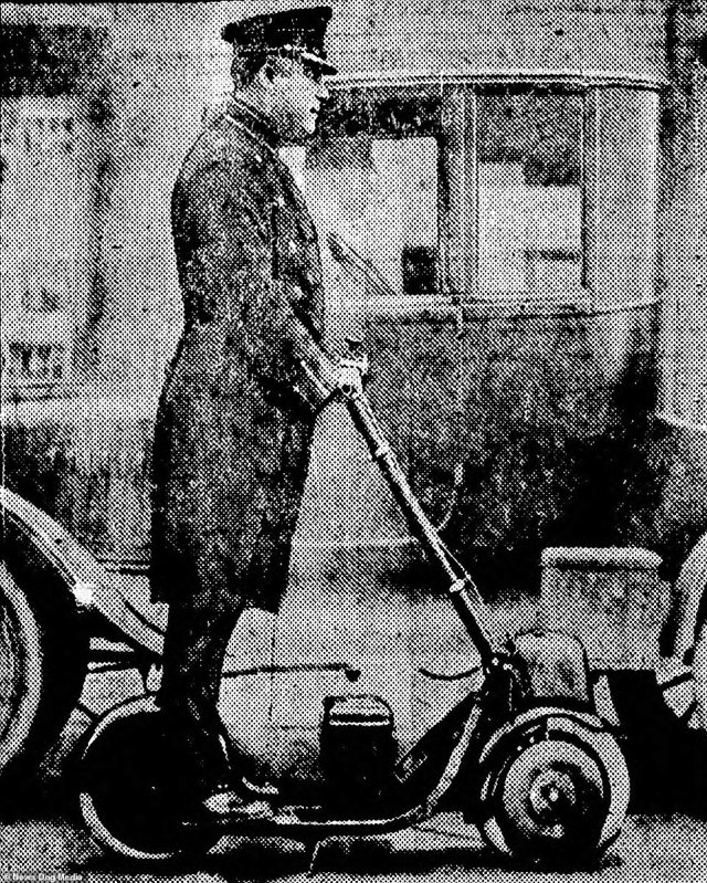 Timothy Porter, a traffic cop in Newark, New Jersey, rides about on an Autoped in 1922. Much like today, scooter riders were unsure to use the roads, which were unsuited to the scooter, or the pavement where they were mostly forbidden