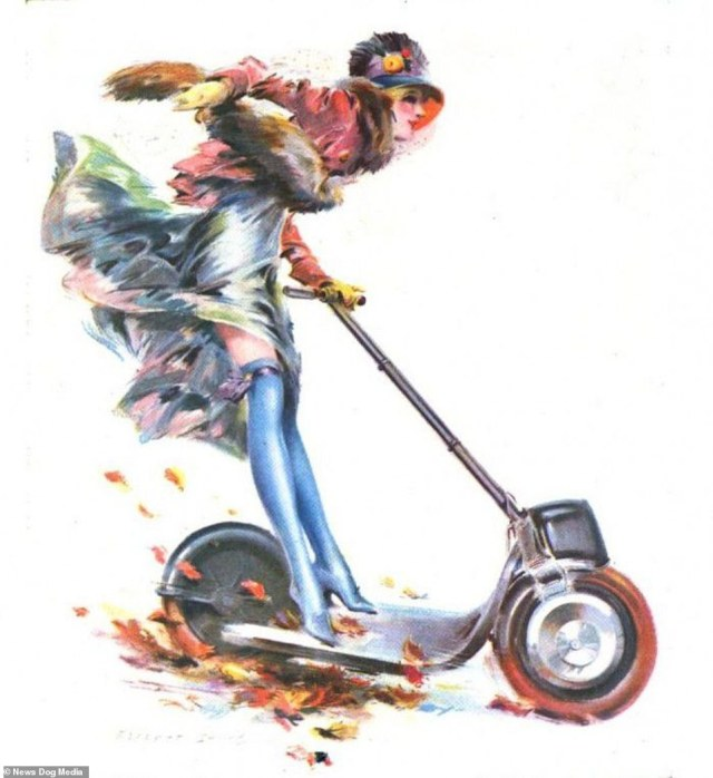 An advertisement that appeared in Puck magazine for the Autoped, featuring a woman fearlessly riding the vehicle, adding to the scooter's association with female empowerment, from 1916