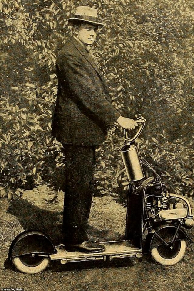 A man on an Autoglider scooter in Birmingham, circa 1920. Some people now see them as a useful alternative transport method that doesn't pollute town centres