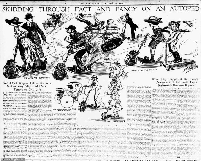 A newspaper clipping from 1916 warning of the potential dangers of the new scooter craze, with one subheading reading: 'Solo devil wagon taken up in a serious way might add new terrors to city life'