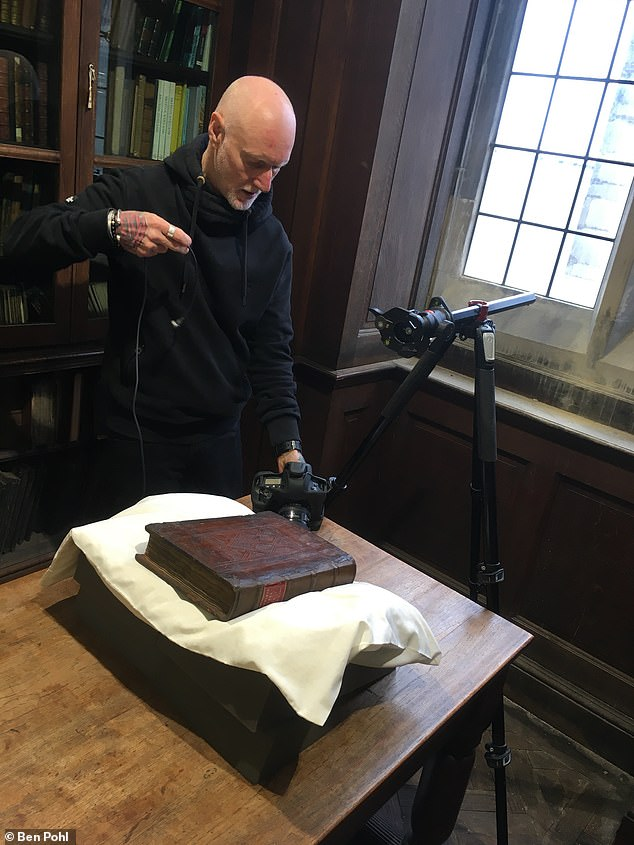 Experts from the Universities of Bristol and Durham believe that the fragments represent some of the earliest surviving examples of their section of the story. Pictured: one of the Gerson volumes containing the Bristol Merlin fragments is photographed byDon Hooper