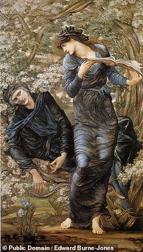 Pictured: the 'Beguiling of Merlin' by the Lady of the Lake (known in the Bristol fragments instead as Viviane), as painted by Edward Burne-Jones in1874