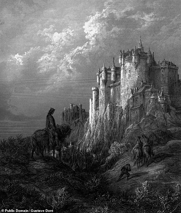The seven pieces of parchment — which date back some 770 years — were rediscovered in 2019 among the University of Bristol's Special Collections Library. Pictured: Gustave Doré's illustration ofCamelot from Alfred, Lord Tennyson's 1867 work 'Idylls of the King'