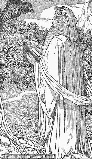 The fragments also contain an early version ofthe romance between Merlin (pictured) and Viviane — sometimes known as 'the Lady of Lake'