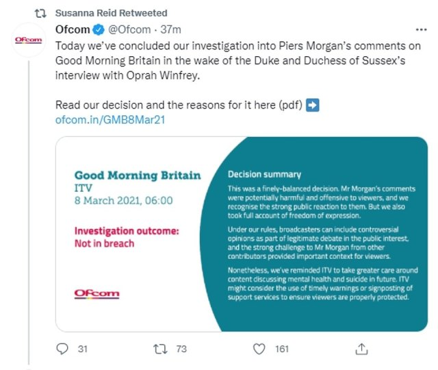 Mr Morgan's former co-host Susanna Reid retweeted the Ofcom result yesterday in tacit support of her friend