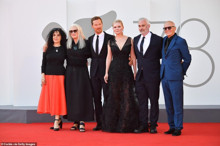 Attendees:(L-R) Tanya Seghatchian, Director Jane Campion, Benedict Cumberbatch, Kirsten Dunst, Iain Canning and Roger Frappier