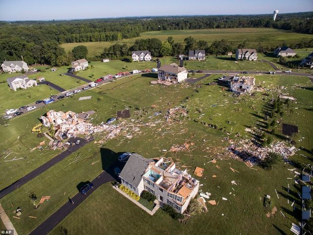 Homes damaged from the remnants of Hurricane Ida on Josephine Lane in Mullica Hill, New Jersey