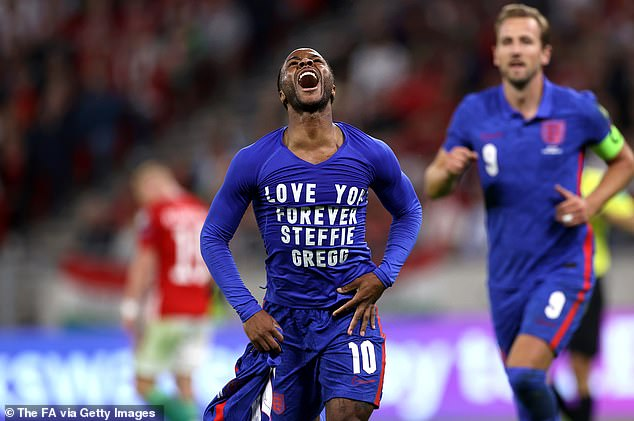 England's Raheem Sterling was pelted with cups by Hungarian fans after taking off his shirt