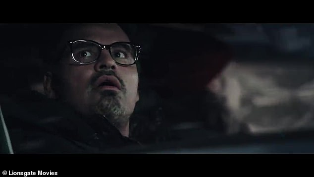 Dramatic:The moon is seen directly above Earth as a stunned Jo watches from a control room as the trailer wraps up with a number of dramatic shot, including a glimpse of Michael Pena's Tom Lopez
