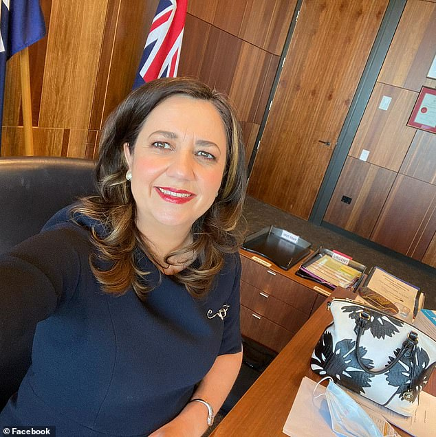 The twice-married Ms Palaszczuk unveiled a glamorous makeover late last month during one of her daily Covid-19 press conferences, raising speculation there had been other changes in her private life. She is pictured with her new hairstyle and makeup