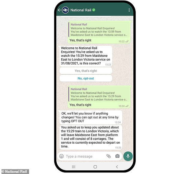 Once you opt in for the service on the National Rail website and enter your phone number, National Rail will send you updates on a specific journey