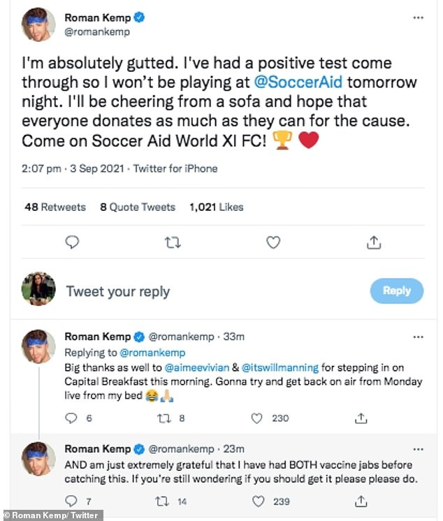 'I'm gutted!': Roman, 28, took to Twitter on Thursday to confirm he would be missing out on the UNICEF charity fundraiser