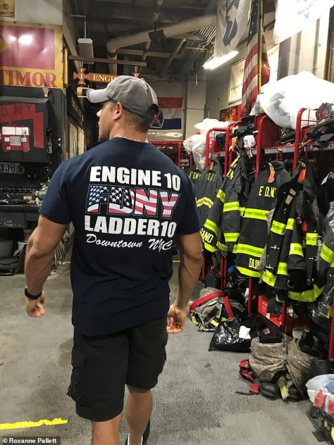 In memory: Jason's fire station is decorated with tributes to the343 firefighters killed in the line of duty during the 9/11 attacks in New York two decades ago