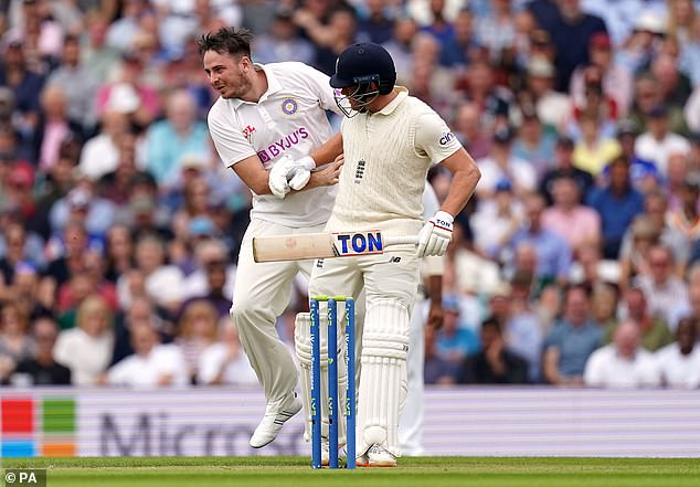Bairstow clashed with a pitch invader (left) and later berated a steward by the dressing room