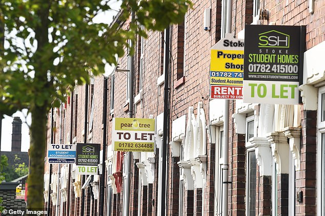 But there are fears that buy-to-let investors could be squeezed out of legitimate investments in holiday areas. Pictured: Property signs outside houses in Stoke-on-Trent