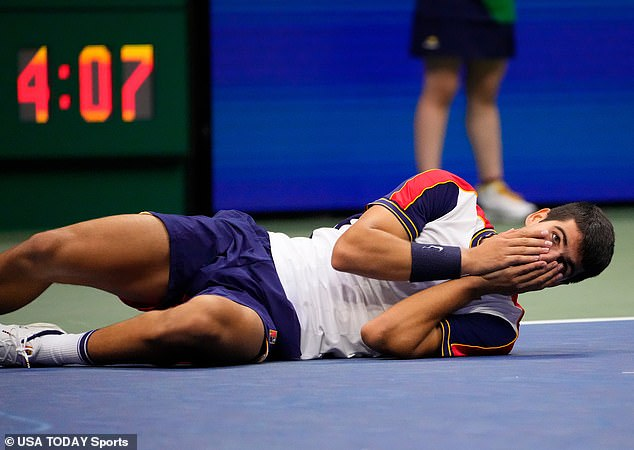 Meanwhile, Alcaraz, 18, said it was a 'dream come true' to defeat the World No 3 in New York