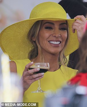 Still on the scene: She attended the VIP Bumble marquee at the Melbourne Cup, dressed in a bright yellow outfit